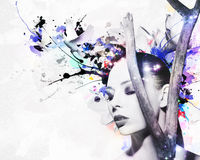 Beautiful woman, Artwork with ink in grunge style Royalty Free Stock Photo