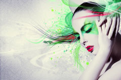Beautiful woman, Artwork with ink in grunge style Stock Image