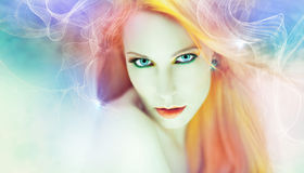 Beautiful woman artwork. Beautiful woman in a magical artwork, background Royalty Free Stock Photography