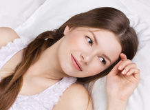 Beautiful  woman asleeping in a bed Royalty Free Stock Images