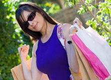 Beautiful Woman At A Shopping Center Stock Images