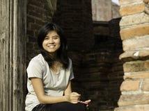 Beautiful Woman At Wat Maheyong Temple. Ayutthaya - Thailand Royalty Free Stock Photo