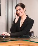 Beautiful Woman Attractive Business Person Office Desk Answering Phone Royalty Free Stock Photography
