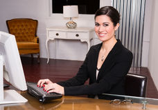 Beautiful Woman Attractive Business Person Office Desk Answering Stock Photos