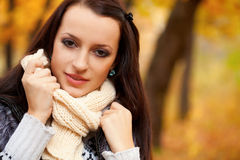 Beautiful woman in autmn park Royalty Free Stock Photography
