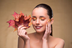 The beautiful woman in with autumn dry leaves. Beautiful woman in with autumn dry leaves royalty free stock photos