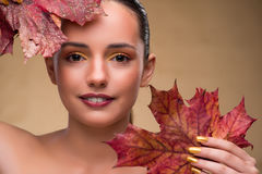 The beautiful woman in with autumn dry leaves. Beautiful woman in with autumn dry leaves royalty free stock images