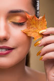 The beautiful woman in with autumn dry leaves. Beautiful woman in with autumn dry leaves royalty free stock photo