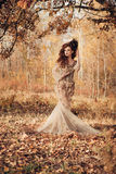 Beautiful woman in autumn forest Stock Photos
