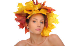 Beautiful woman with autumn leaves Stock Images