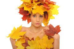 Beautiful woman with autumn leaves Royalty Free Stock Photo