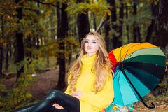 Beautiful Woman with Autumn Leaves on Fall Nature Background. Dreamy girl with long hair in knit sweater. Autumn. Portrait woman holds yellow maple leaves in royalty free stock photos
