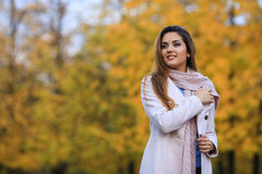 Beautiful woman in autumn park. Outdoor portrait. Woman portrait. free space.  Royalty Free Stock Photo