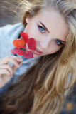 Beautiful woman in autumn park royalty free stock photo