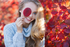 Beautiful woman in autumn park royalty free stock image