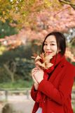 Fall woman happy and bliss , Beautiful woman in autumn park Royalty Free Stock Images