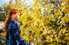 Beautiful woman in autumn park with yellow leaves background. Concept of heat, positive energy, nature enjoy. Stock Images