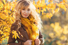 Beautiful woman in autumn park. Royalty Free Stock Image