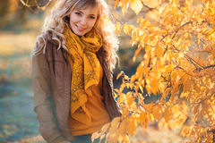 Beautiful woman in autumn park. Royalty Free Stock Photography