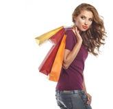 Beautiful Woman and autumn shopping Royalty Free Stock Photos