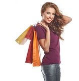 Beautiful Woman and autumn shopping Stock Image