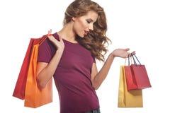 Beautiful Woman and autumn shopping Royalty Free Stock Photo