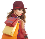 Beautiful Woman and autumn shopping Royalty Free Stock Photography