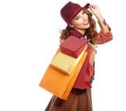 Beautiful Woman and autumn shopping Stock Photography