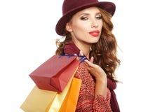Beautiful Woman and autumn shopping Stock Photo