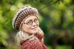 Beautiful woman in autumn wood Royalty Free Stock Photos