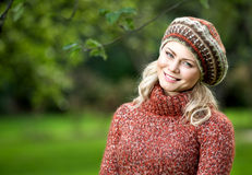 Beautiful woman in autumn wood Royalty Free Stock Images
