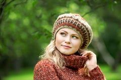 Beautiful woman in autumn wood Stock Photo