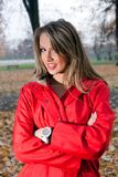 Beautiful woman in autumnal park Royalty Free Stock Images