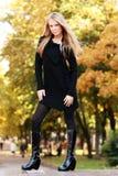 Beautiful woman in autumnal park. Beautiful young woman in autumnal park Stock Image