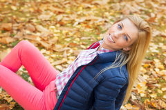Beautiful woman at the autumnal park Stock Image