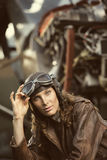 Beautiful woman aviator: vintage photo Stock Photos