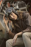 Beautiful woman aviator: vintage photo Royalty Free Stock Photos