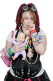 Beautiful Woman and baby Doll Royalty Free Stock Images
