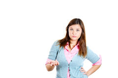 Beautiful woman with bad attitude gesturing, so what, who cares, or what's the problem Royalty Free Stock Photography