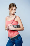 Beautiful woman with bag Royalty Free Stock Image