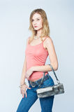 Beautiful woman with bag Stock Images