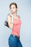 Beautiful woman with bag Stock Photos