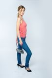 Beautiful woman with bag Stock Photo