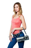 Beautiful woman with bag Royalty Free Stock Photos