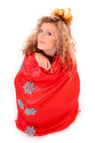 Beautiful woman in bag isolated Stock Image