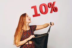 Beautiful woman with bag. Sale concept. Stock Photos