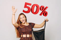 Beautiful woman with bag. Sale concept. Stock Images