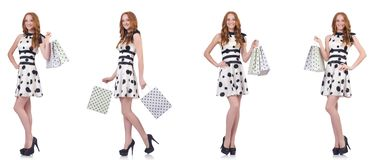 The beautiful woman with bags isolated on white royalty free stock photo