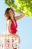 Beautiful woman on the balcony Stock Images
