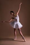 Beautiful woman ballerina in tutu posing on toes over beige Stock Photo